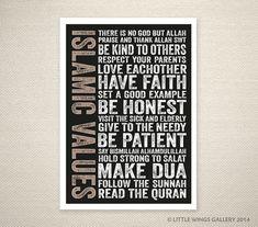 Islamic Values (Black) Islamic Art Print, Modern Islamic Wall Art, Nursery Decor