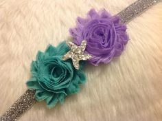Starfish Sparkle Mermaid Band Aqua Boutique Headbands by LittleCloverPatch on Etsy