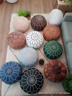 Moroccan Leather Pouf handmade ottoman pouf footstool home decor - You are in the right place about diy Here we offer you the most beautiful pictures about the diy - Boho Glam Home, Moroccan Pouffe, Moroccan Leather Pouf, Moroccan Cushions, Leather Pouf Ottoman, Ottoman Footstool, Ottoman Decor, Diy Ottoman, Ottoman Design