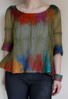 absolutely gorgeous top...looks like hand felted on sheer silk