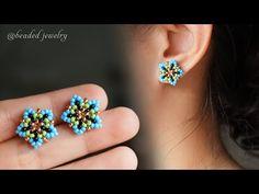 Little star beaded stud earrings. Easy to make for beginners - YouTube Diy Earrings Studs, Earrings Handmade, Handmade Jewelry, Seed Bead Jewelry, Seed Bead Earrings, Beaded Earrings Patterns, Bracelet Patterns, Bead Loom Bracelets, Earring Tutorial