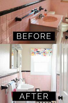 Most Popular DIY Remodel of 2018 Revealed Budget Bathroom, Small Bathroom, Bathroom Ideas, Bathroom Closet, Bathroom Plants, Mauve Bathroom, Cute Wall Decor, Pink Tiles, Interior Design Studio
