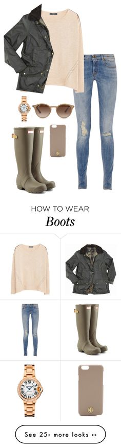 """hunter boots&barbor"" by kcunningham1 on Polyvore featuring R13, MANGO, Hunter, Barbour, Cartier, Ray-Ban and Tory Burch"