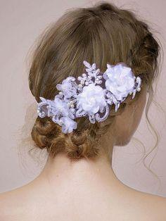 Fashionmia - Fashionmia White Lace Floral Wedding Hair Accessories - AdoreWe.com