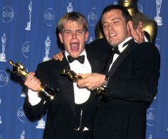 Revisit Iconic Moments From Oscars History   BFFs Matt Damon and Ben Affleck celebrated in '98