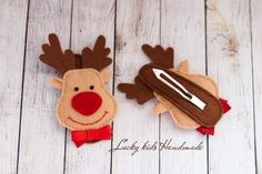 Felt Christmas deer hair clip Christmas hair clip Christmas hair bow Reindeer Felt Hair Clip Christmas Winter Holiday USD) by LuckyKidsHandmade Christmas Hair Bows, Christmas Deer, Felt Christmas, Christmas Crafts, Felt Hair Bows, Felt Hair Clips, Felt Hair Accessories, Red Nosed Reindeer, Reindeer Head