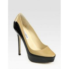 Jimmy Choo Sepia Patent Leather Trimmed Pumps