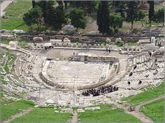 """The Theater of Dionysus, near the Acropolis in Athens, where Diocleides said he saw the hermokopidai (""""herm-choppers"""") gathered before they went out to mutilate the statues. Ancient Mysteries, Acropolis, Archaeological Site, Dionysus, City Photo, Dolores Park, Explore, Travel, Outdoor"""