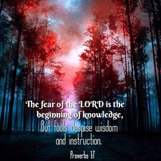 the beginning of the knowledge - fear the Lord