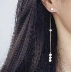925 Silver Long Chain Pearl Drop Earrings 09