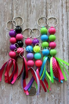 Beaded keychain chunky beaded accessory by SugarPlumGoodies