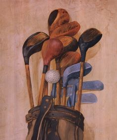 Golf Bag With One Ball, Art Print by Jose Gomez