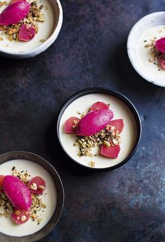 Lemon verbena panna cotta with poached rhubarb, sorbet and sweet toasted seeds
