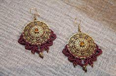 Boho Earrings, Crochet Earrings, Drop Earrings, Baroque, Brass, Trending Outfits, Unique Jewelry, Handmade Gifts, Red