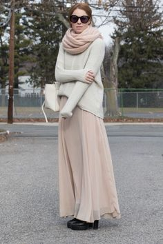 Shades of Blush // by Ever Blue Pearls // Fashion / Style / Outfit / Neutrals / Skirt / Scarf / Winter /