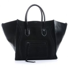 CELINE Suede Patent Leather Large Phantom Black ❤ liked on Polyvore featuring bags, luggage and celine