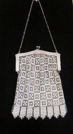 1920's Purse Enamel Mesh Purse Whiting & Davis Purse Art Deco Purse Handbag…