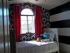 Black, White & Hot Pink bedroom - LOVE the bold stripes! <3