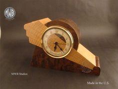 Clock Art, Clock Decor, Desk Clock, Unique Desks, Unusual Clocks, Walnut Burl, Clocks For Sale, Art Deco Furniture, Furniture Stores