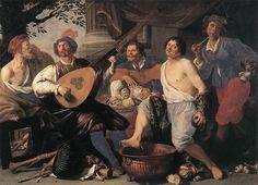 """Painting """"Allegorie van de Vijf Zintuigen"""" by Theodor Rombouts - www.schilderijen.nu"""