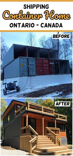 Shipping Container Home Ontario - Canada - Living in a Container Tyni House, Tiny House Cabin, Castle House, Tiny House Plans, Tiny House Design, Building A Container Home, Container Cabin, Storage Container Homes, Container Design