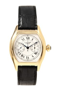 """Shop Cartier 18K Yellow Gold """"Tortue""""Single-Button Chronograph Wristwatch With Black Alligator Strap From Camilla Dietz-Bergeron by Camilla ..."""
