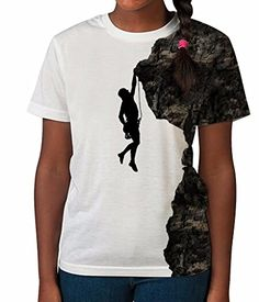 Kid's T Shirt All Over Print Rock Climber Silhouette Girl…
