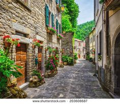 typical Italian street in a small provincial town of Tuscan, Italy, Europe Beautiful Streets, Beautiful Places, Beautiful Scenery, Simply Beautiful, Large Wall Murals, Stone Road, Street Wall Art, Toscana Italia, Italy Street