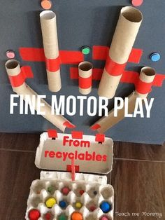 Fine motor Play from Recyclables - Teach Me Mommy - Fun Activities for Kids - Use recyclables to make this fun fine motor toy! Adaptable for different ages too? Toddler Play, Toddler Learning, Baby Play, Toddler Crafts, Crafts For Kids, Toddler Games, Recycled Crafts Kids, Toddler Busy Board, Kid Games