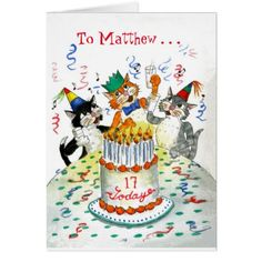 Comic Singing Cats Custom Age Specific Birthday Card
