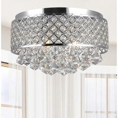 Candice 4-light Chrome and Crystal Flush Mount Chandelier | Overstock.com Shopping - The Best Deals on Flush Mounts