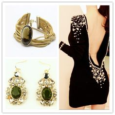 fashion black dress with jewelry set.  If you have a better idea for the jewelry for this dress, just leave it at comment!
