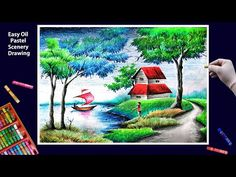 Beautiful Scenery Drawing with Oil Pastels-Step by Step Scenery Drawing Pencil, Beautiful Scenery Drawing, Scenery Drawing For Kids, Drawing Sunset, Landscape Pencil Drawings, Colour Drawing, Watercolor Landscape Paintings, Color Pencil Art, Oil Pastel Drawings Easy
