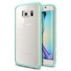 Galaxy S6 Edge Case, Spigen® [AIR CUSHION] Galaxy S6 Edge Case Bumper **NEW** [Ultra Hybrid] [Mint] - [1 Back Protector Included] Air Cushion Technology Corners + Bumper Case with Clear Back Panel for Galaxy S6 Edge (2015) - Mint (SGP11416) - http://www.rekomande.com/galaxy-s6-edge-case-spigen-air-cushion-galaxy-s6-edge-case-bumper-new-ultra-hybrid-mint-1-back-protector-included-air-cushion-technology-corners-bumper-case-with-clear-back-pane/