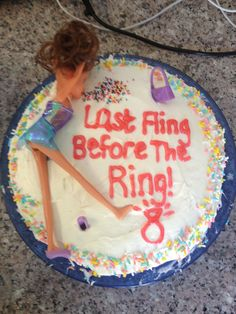 Bachelorette barfing Barbie cake:)
