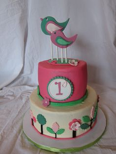 Bird Birthday Cake - Little girl's first birthday with the pink and green garden theme.