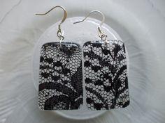 Black Lace Resin Earrings by EnchantmentJewel on Etsy, $5.00