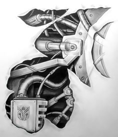 An awesome biomechanical tattoo design for men.
