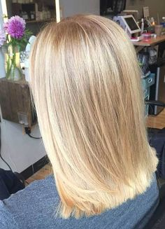 Butter blonde - balayage - hair painting - sandy blonde - bright blonde - shiny - medium length haircut - smooth - blunt long bob i like this Medium Hair Cuts, Medium Hair Styles, Short Hair Styles, Blonde Hair Styles Medium Length, Long Bob Haircuts, Long Bob Hairstyles, Medium Blonde Haircuts, Curly Hairstyle, Hairstyle Ideas