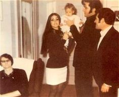 Elvis, Priscilla, Lisa Marie, Charlie Hodge and Elvis' grandmother, Dodger/Minnie Mae.