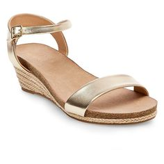 Women's Eve Wide Width Footbed Quarter Straps Wedge Sandals - Gold 8.5W