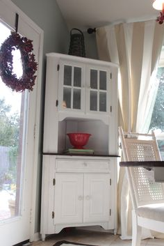 Built In Corner China Cabinet White