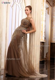 Coffee Chiffon Sequins Sleeveless Illusion Crew Neck Floor Length Evening Dress