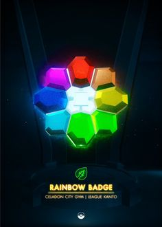 Rainbow Badge - detailed, premium quality, magnet mounted prints on metal designed by talented artists. Our posters will make your wall come to life. Kanto Gym Badges, Pokemon Gym Badges, Pokemon Red, Pokemon Pins, Game Boy, Rainbow Badge, Video Game Anime, Video Games, Popular Pokemon