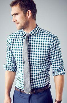 look masculino camisa xadrez gravata