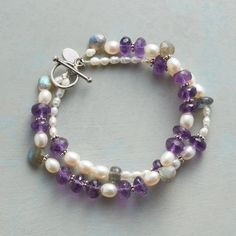 "HYDRANGEA HUE BRACELET -- Faceted amethysts provide a focal point for a cultured pearl garden rooted in earthborn labradorite. Exclusive. Handmade bracelet with sterling silver granulation bead accents and toggle clasp. Approx. 7-1/2""L."