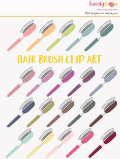 Hair brush rainbow clip art collection 20 shades hair