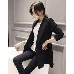 Buy Elegant Pure Color Tailored Collar Long Sleeve Blazer Black China brand wholesale ($17.50) http://www.clubwholesale.net/women/blazers
