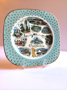 Vintage California Souvenir Plate Turquoise 1960's Collectible Plate