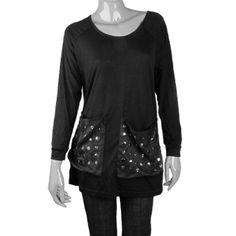 Allegra K Size XS Blk Round Collar Studded Pocket Shirt for Lady Allegra K. $10.14